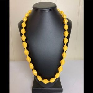 Vtg Chunky Yellow Plastic Beaded Party Necklace